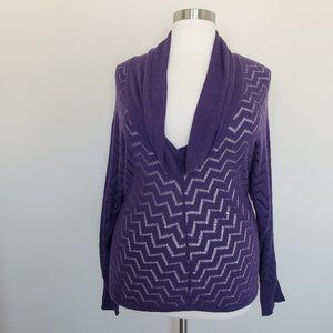 Holistia Purple Pullover Cowl Neck Zig Zag Knit XL